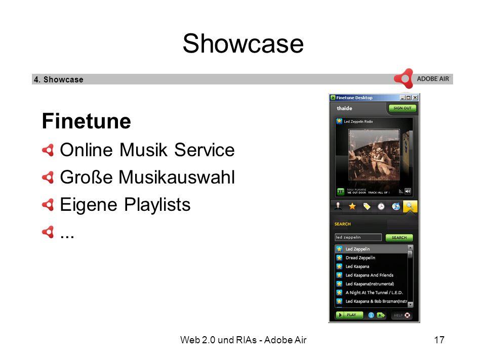 Web 2.0 und RIAs - Adobe Air17 Showcase Finetune Online Musik Service Große Musikauswahl Eigene Playlists...