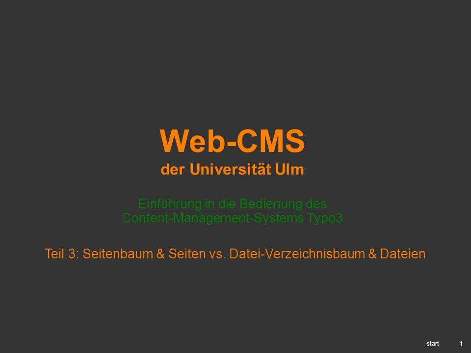 1 Web-CMS der Universität Ulm Einführung in die Bedienung des Content-Management-Systems Typo3 start Teil 3: Seitenbaum & Seiten vs. Datei-Verzeichnis