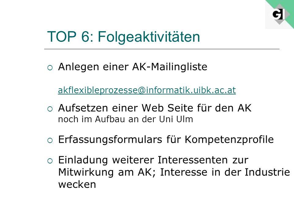 TOP 6: Folgeaktivitäten Anlegen einer AK-Mailingliste akflexibleprozesse@informatik.uibk.ac.at Aufsetzen einer Web Seite für den AK noch im Aufbau an