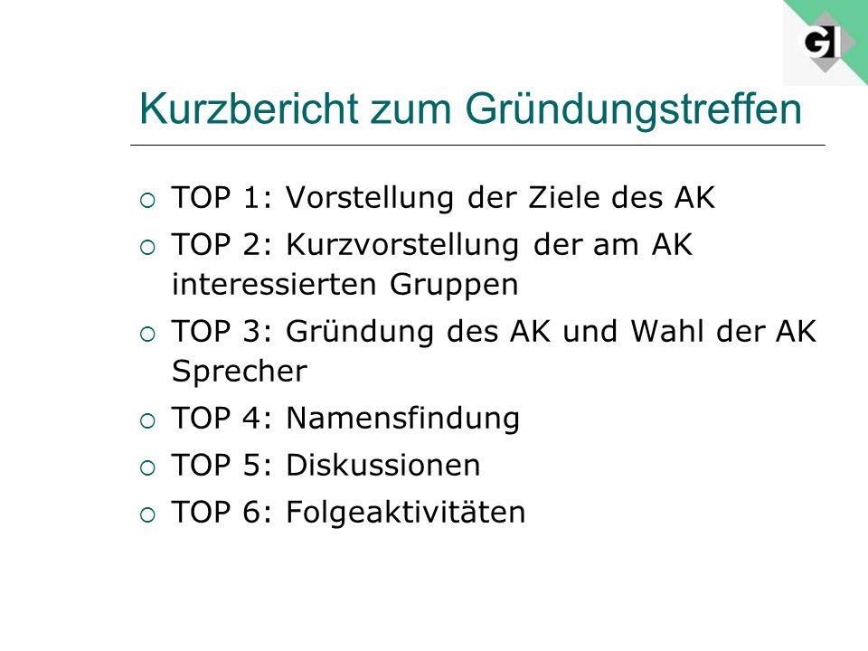 Kurzbericht zum Gründungstreffen TOP 1: Vorstellung der Ziele des AK TOP 2: Kurzvorstellung der am AK interessierten Gruppen TOP 3: Gründung des AK un