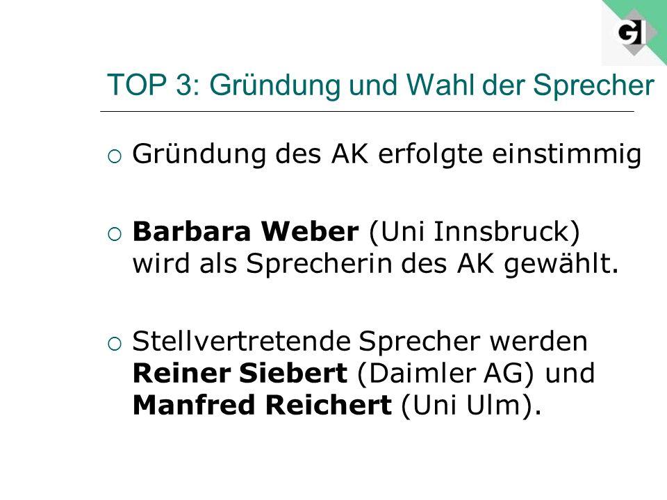 TOP 3: Gründung und Wahl der Sprecher Gründung des AK erfolgte einstimmig Barbara Weber (Uni Innsbruck) wird als Sprecherin des AK gewählt. Stellvertr