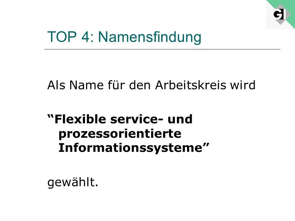 TOP 4: Namensfindung Als Name für den Arbeitskreis wird Flexible service- und prozessorientierte Informationssysteme gewählt.