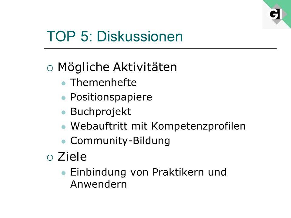 TOP 5: Diskussionen Mögliche Aktivitäten Themenhefte Positionspapiere Buchprojekt Webauftritt mit Kompetenzprofilen Community-Bildung Ziele Einbindung