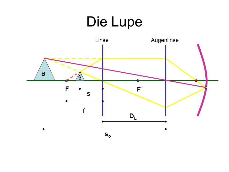 Die Lupe s soso DLDL f B AugenlinseLinse F F´ g