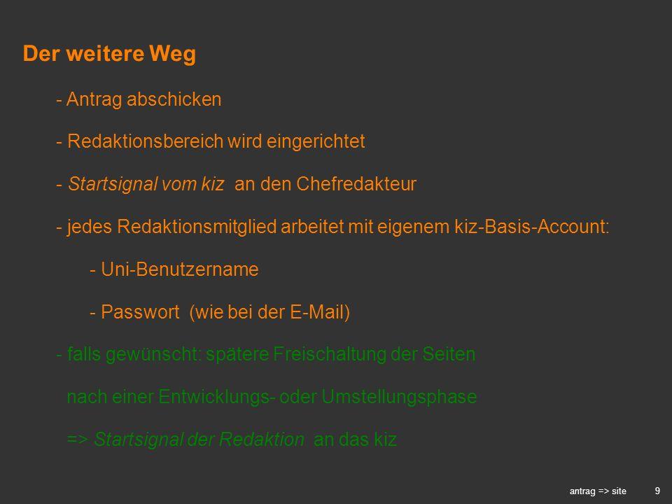 9 antrag => site - Antrag abschicken - Redaktionsbereich wird eingerichtet - Startsignal vom kiz an den Chefredakteur - jedes Redaktionsmitglied arbei