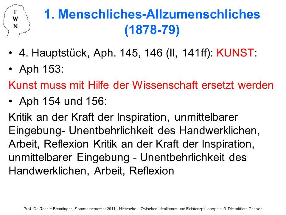 4. Hauptstück, Aph. 145, 146 (II, 141ff): KUNST: Aph 153: Kunst muss mit Hilfe der Wissenschaft ersetzt werden Aph 154 und 156: Kritik an der Kraft de