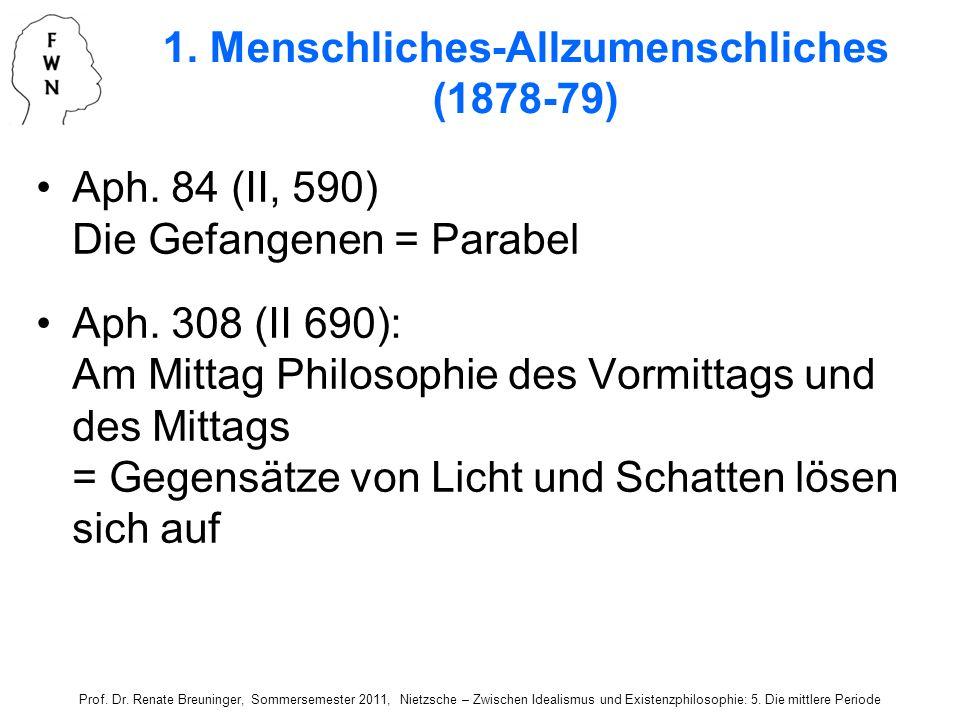 Aph. 84 (II, 590) Die Gefangenen = Parabel Aph. 308 (II 690): Am Mittag Philosophie des Vormittags und des Mittags = Gegensätze von Licht und Schatten