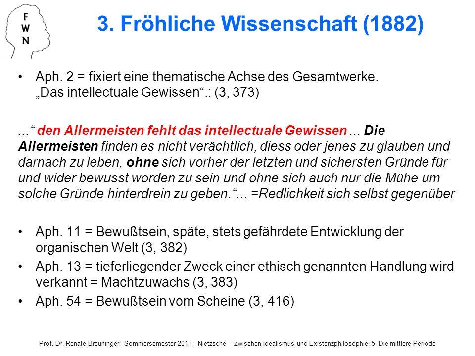 Aph. 2 = fixiert eine thematische Achse des Gesamtwerke. Das intellectuale Gewissen.: (3, 373)... den Allermeisten fehlt das intellectuale Gewissen...
