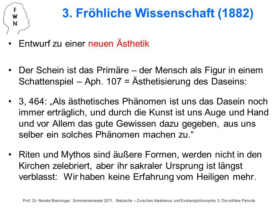 Entwurf zu einer neuen Ästhetik Der Schein ist das Primäre – der Mensch als Figur in einem Schattenspiel – Aph. 107 = Ästhetisierung des Daseins: 3, 4