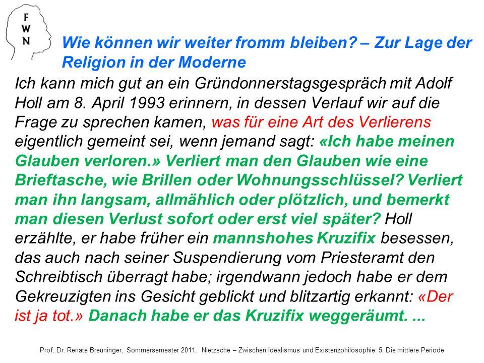 Ich kann mich gut an ein Gründonnerstagsgespräch mit Adolf Holl am 8. April 1993 erinnern, in dessen Verlauf wir auf die Frage zu sprechen kamen, was