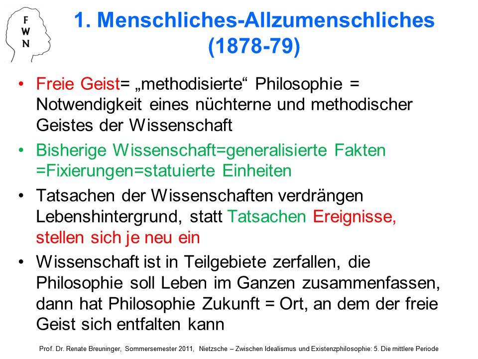 1.Menschliches-Allzumenschliches (1878-79) Kurze Aphorismen, im 1.