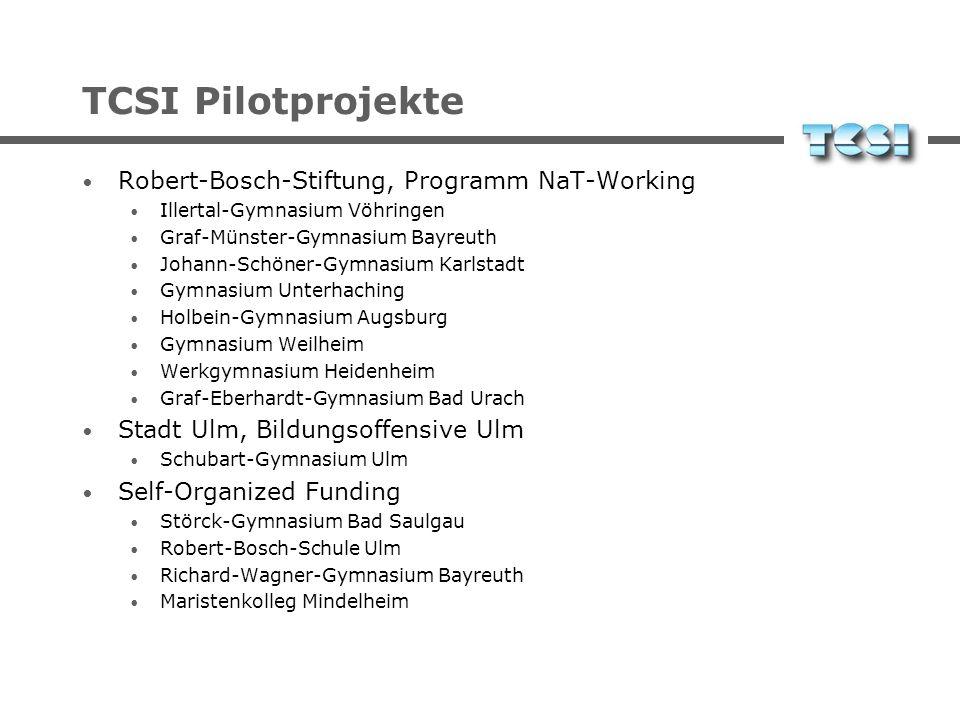 TCSI Pilotprojekte Robert-Bosch-Stiftung, Programm NaT-Working Illertal-Gymnasium Vöhringen Graf-Münster-Gymnasium Bayreuth Johann-Schöner-Gymnasium K