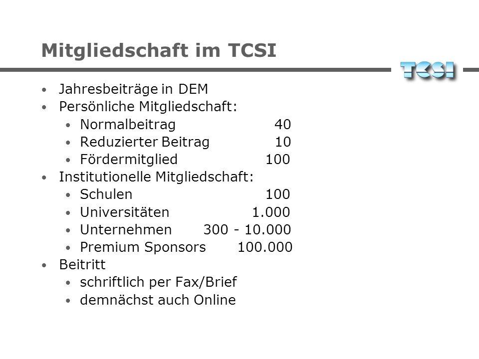 Mitgliedschaft im TCSI Jahresbeiträge in DEM Persönliche Mitgliedschaft: Normalbeitrag 40 Reduzierter Beitrag 10 Fördermitglied 100 Institutionelle Mi