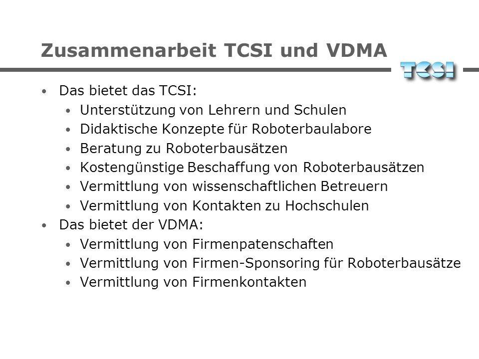 Zusammenarbeit TCSI und VDMA Das bietet das TCSI: Unterstützung von Lehrern und Schulen Didaktische Konzepte für Roboterbaulabore Beratung zu Roboterb