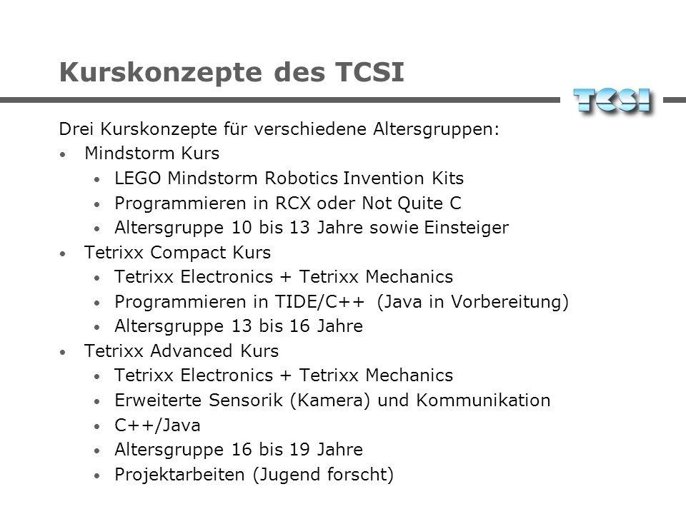 Kurskonzepte des TCSI Drei Kurskonzepte für verschiedene Altersgruppen: Mindstorm Kurs LEGO Mindstorm Robotics Invention Kits Programmieren in RCX ode
