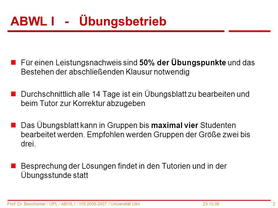 2 Prof. Dr. Beschorner / UPL / ABWL I / WS 2006-2007 / Universität Ulm 23.10.06 ABWL I - Übungsbetrieb nFür einen Leistungsnachweis sind 50% der Übung