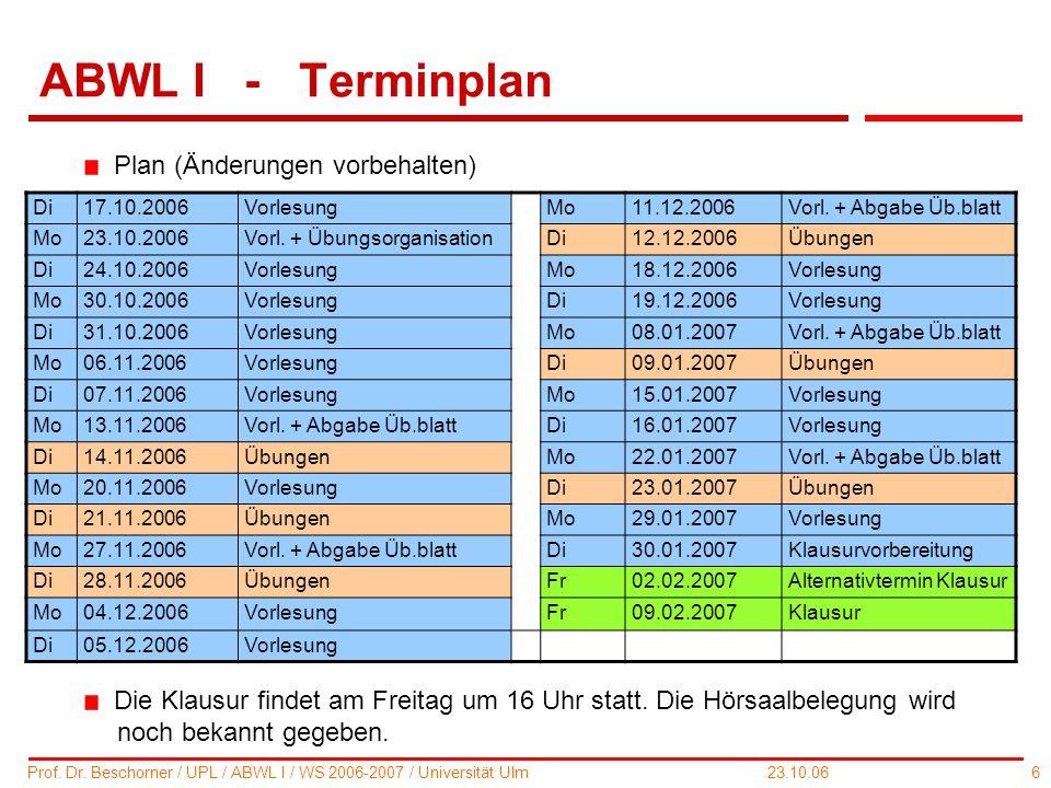 6 Prof. Dr. Beschorner / UPL / ABWL I / WS 2006-2007 / Universität Ulm 23.10.06 ABWL I - Terminplan Di17.10.2006VorlesungMo11.12.2006Vorl. + Abgabe Üb