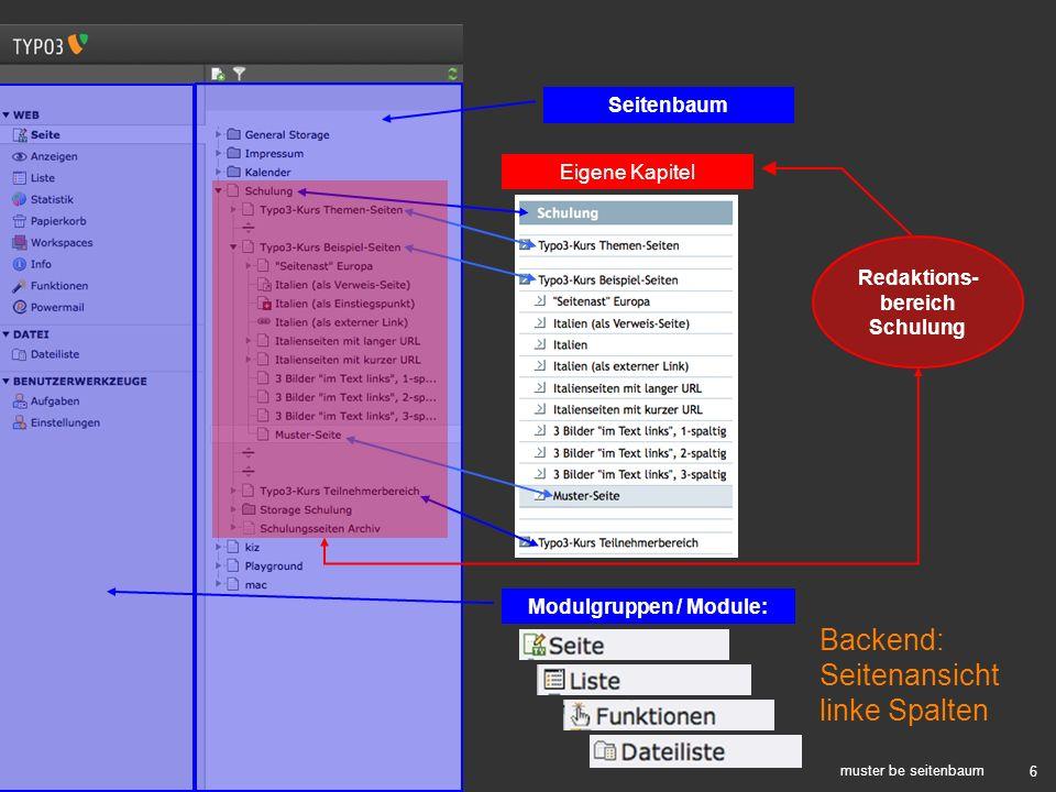 6 muster be seitenbaum Backend: Seitenansicht linke Spalten Modulgruppen / Module: Seitenbaum Eigene Kapitel Redaktions- bereich Schulung