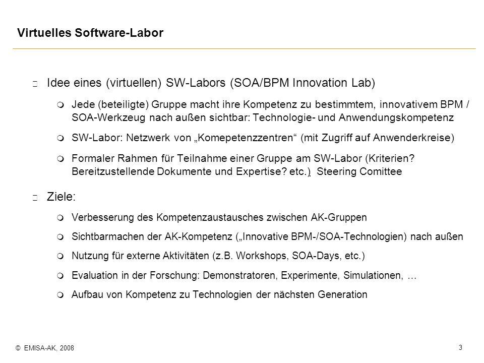 3 © EMISA-AK, 2008 p Idee eines (virtuellen) SW-Labors (SOA/BPM Innovation Lab) m Jede (beteiligte) Gruppe macht ihre Kompetenz zu bestimmtem, innovat