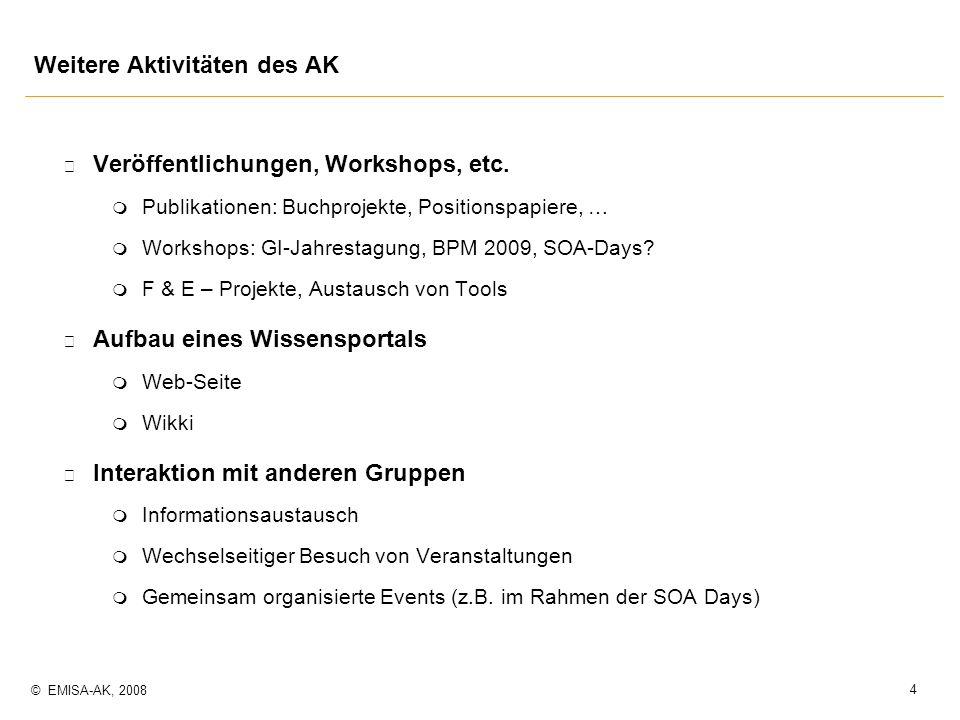 4 © EMISA-AK, 2008 Weitere Aktivitäten des AK p Veröffentlichungen, Workshops, etc. m Publikationen: Buchprojekte, Positionspapiere, … m Workshops: GI