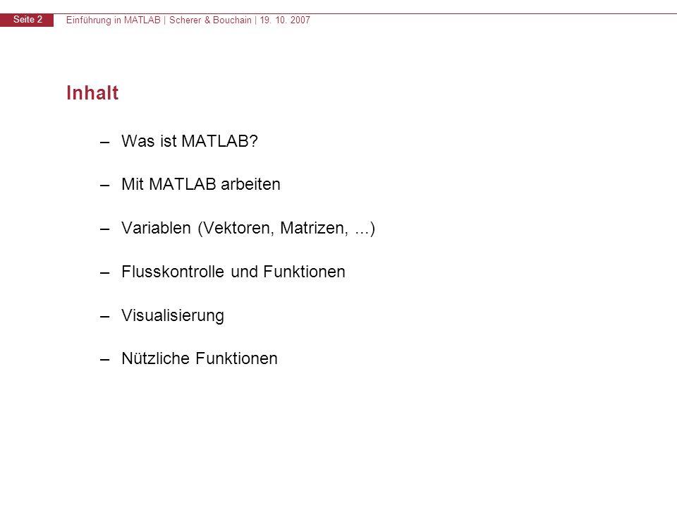 Einführung in MATLAB | Scherer & Bouchain | 19. 10. 2007 Seite 2 Inhalt –Was ist MATLAB? –Mit MATLAB arbeiten –Variablen (Vektoren, Matrizen,...) –Flu