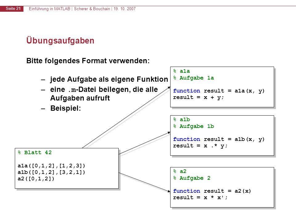 Einführung in MATLAB | Scherer & Bouchain | 19. 10. 2007 Seite 21 Übungsaufgaben Bitte folgendes Format verwenden: –jede Aufgabe als eigene Funktion –