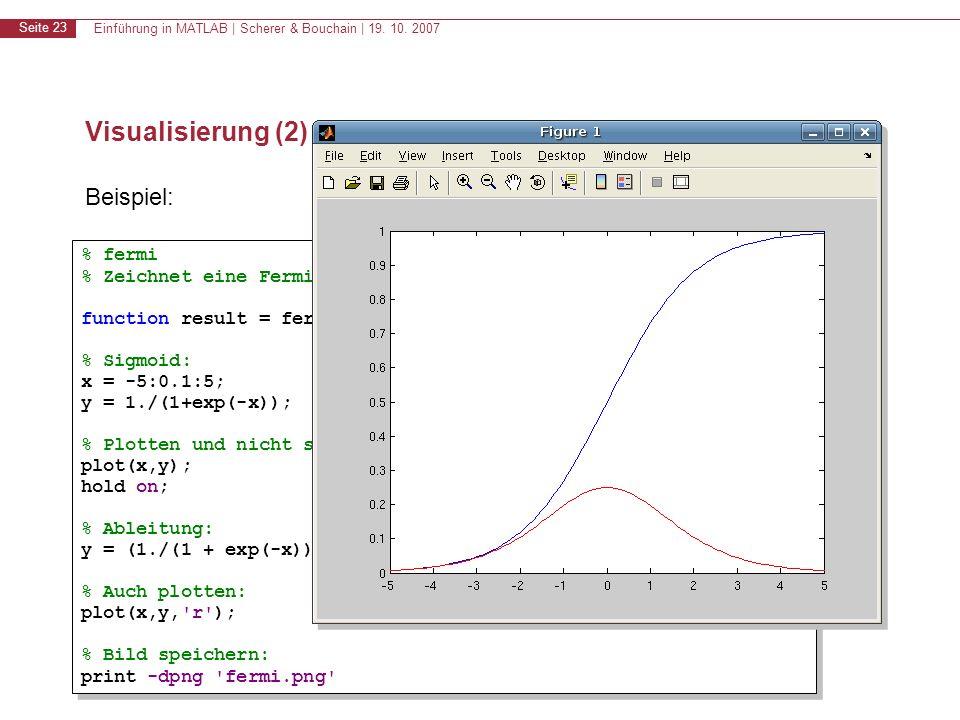 Einführung in MATLAB | Scherer & Bouchain | 19. 10. 2007 Seite 23 Visualisierung (2) Beispiel: % fermi % Zeichnet eine Fermifunktion function result =