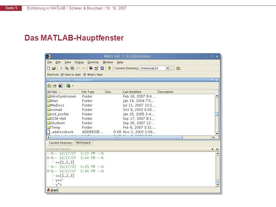 Einführung in MATLAB | Scherer & Bouchain | 19. 10. 2007 Seite 5 Das MATLAB-Hauptfenster