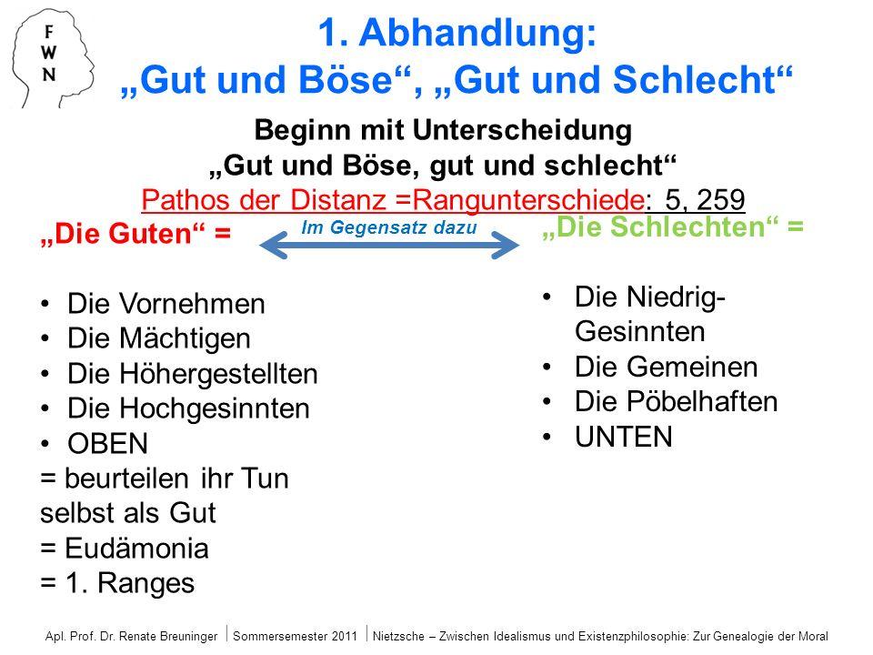 1. Abhandlung: Gut und Böse, Gut und Schlecht Beginn mit Unterscheidung Gut und Böse, gut und schlecht Pathos der Distanz =Rangunterschiede: 5, 259 Di