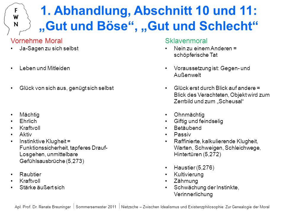 Apl. Prof. Dr. Renate Breuninger Sommersemester 2011 Nietzsche – Zwischen Idealismus und Existenzphilosophie: Zur Genealogie der Moral 1. Abhandlung,
