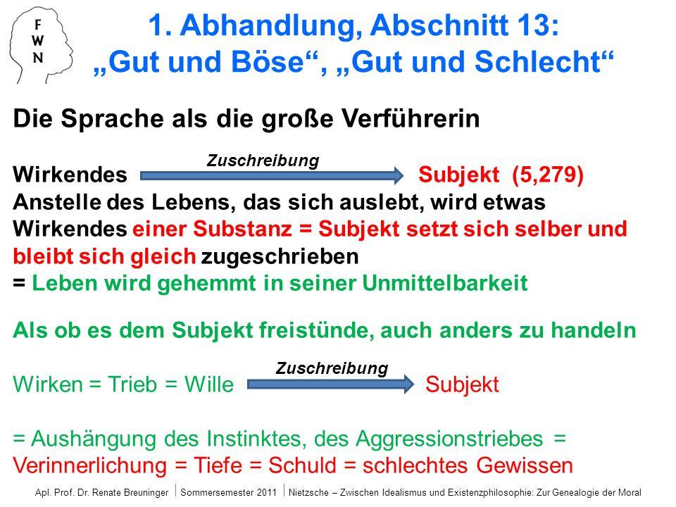 Die Sprache als die große Verführerin Wirkendes Subjekt (5,279) Anstelle des Lebens, das sich auslebt, wird etwas Wirkendes einer Substanz = Subjekt s