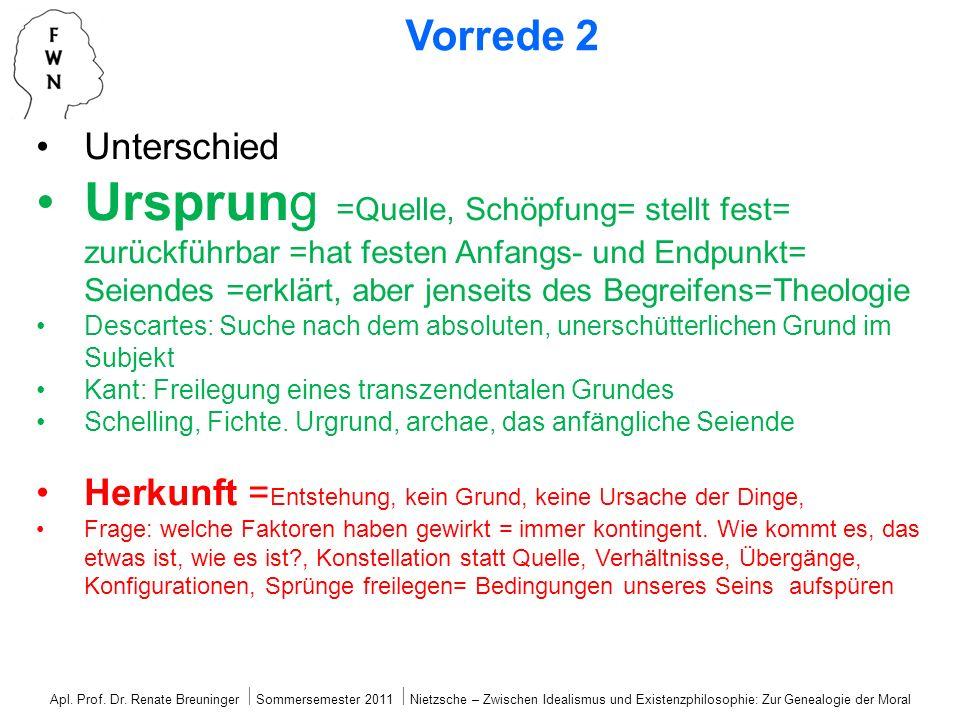 Vorrede 2 Unterschied Ursprung =Quelle, Schöpfung= stellt fest= zurückführbar =hat festen Anfangs- und Endpunkt= Seiendes =erklärt, aber jenseits des