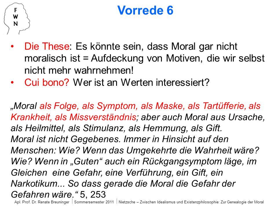 Die These: Es könnte sein, dass Moral gar nicht moralisch ist = Aufdeckung von Motiven, die wir selbst nicht mehr wahrnehmen! Cui bono? Wer ist an Wer
