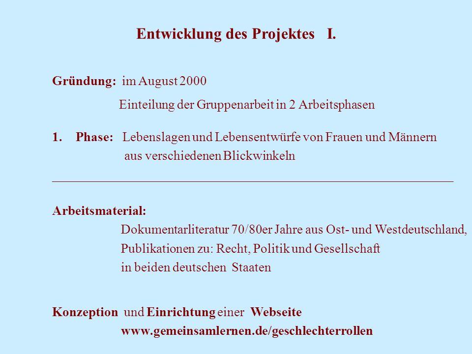 Entwicklung des Projektes I. Gründung: im August 2000 Einteilung der Gruppenarbeit in 2 Arbeitsphasen 1.Phase: Lebenslagen und Lebensentwürfe von Frau