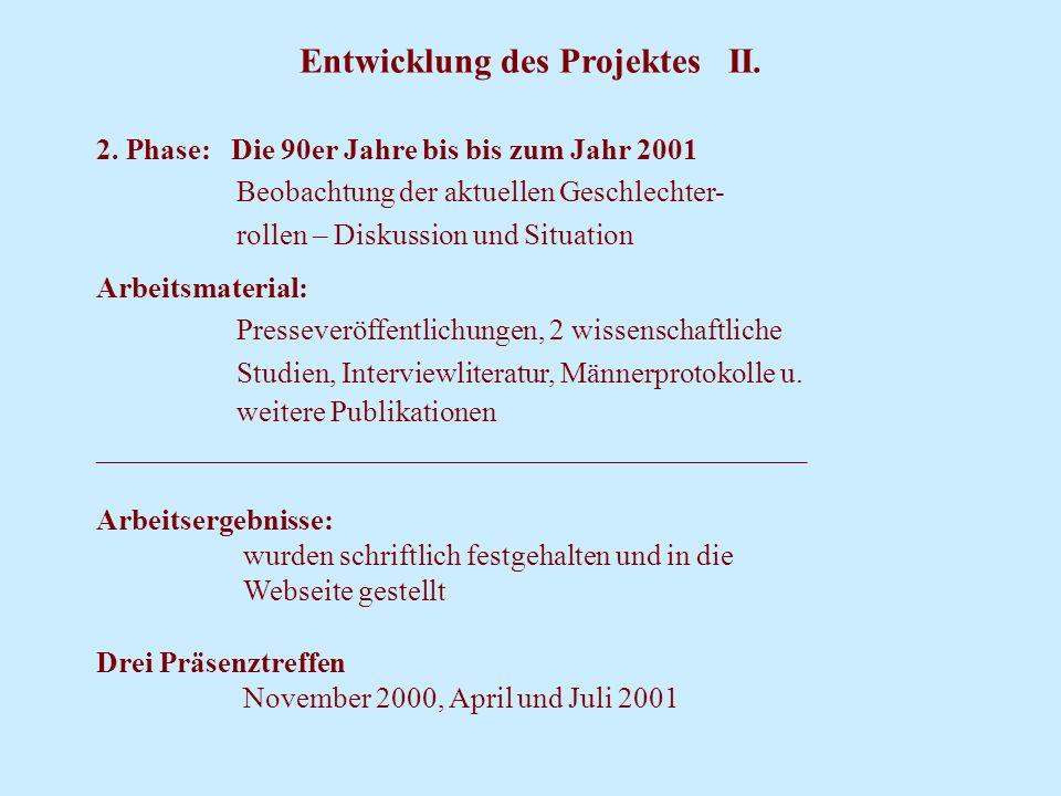Entwicklung des Projektes II. 2. Phase: Die 90er Jahre bis bis zum Jahr 2001 Beobachtung der aktuellen Geschlechter- rollen – Diskussion und Situation