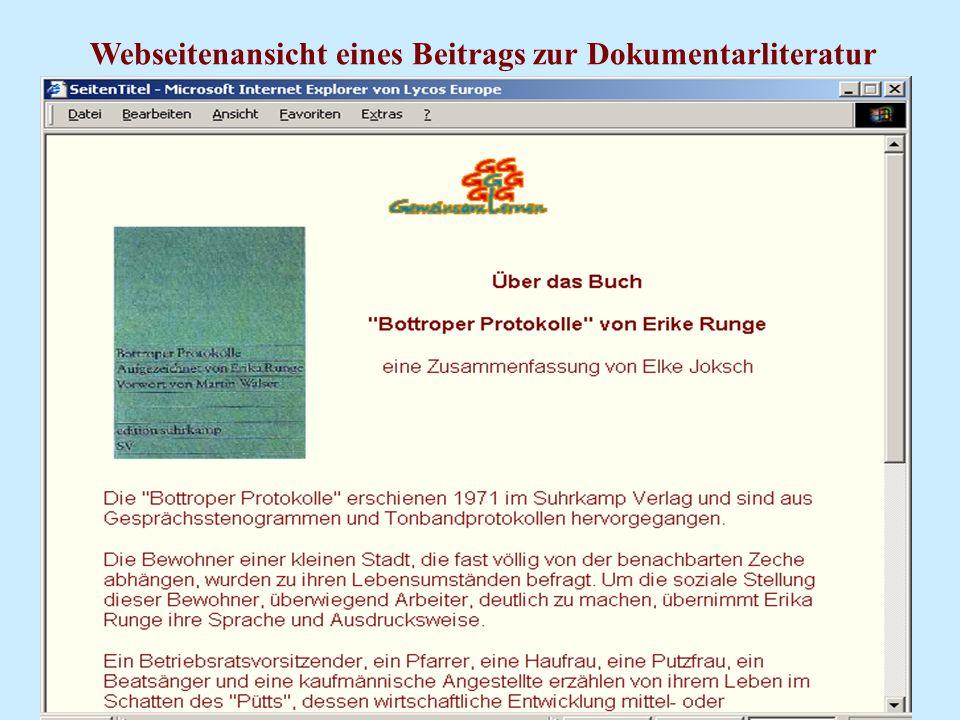 Webseitenansicht eines Beitrags zur Dokumentarliteratur