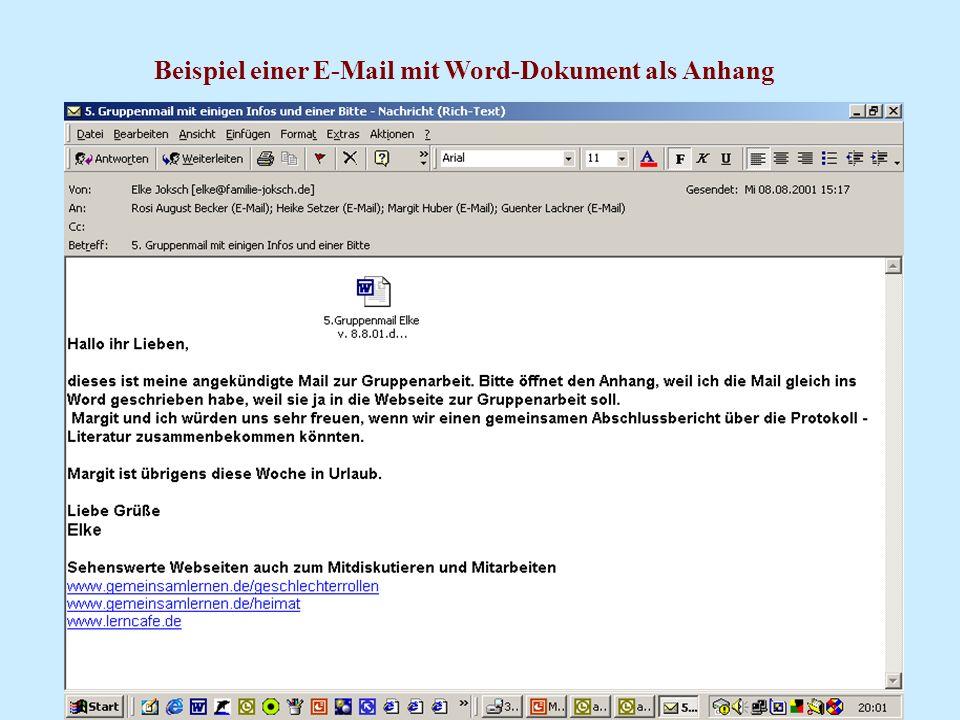 Beispiel einer E-Mail mit Word-Dokument als Anhang