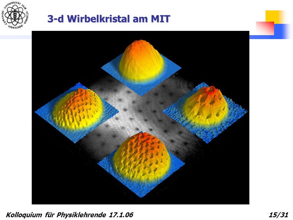 Kolloquium für Physiklehrende 17.1.06 15/31 3-d Wirbelkristal am MIT