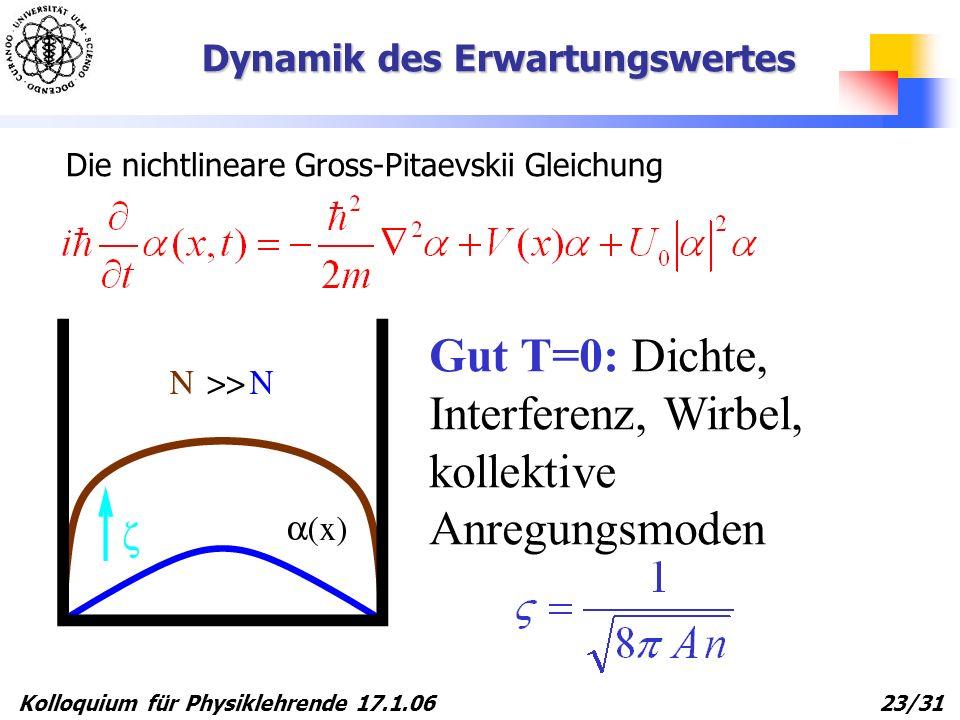 Kolloquium für Physiklehrende 17.1.06 23/31 Gut T=0: Dichte, Interferenz, Wirbel, kollektive Anregungsmoden Dynamik des Erwartungswertes Die nichtline