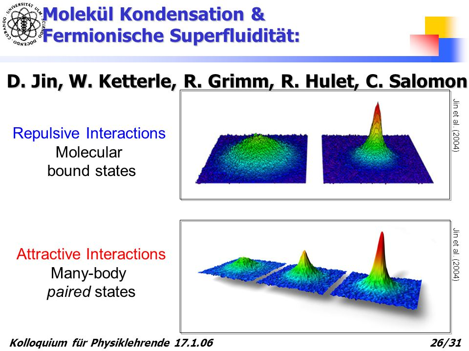 Kolloquium für Physiklehrende 17.1.06 26/31 Jin et al. (2004) Repulsive Interactions Molecular bound states Attractive Interactions Many-body paired s