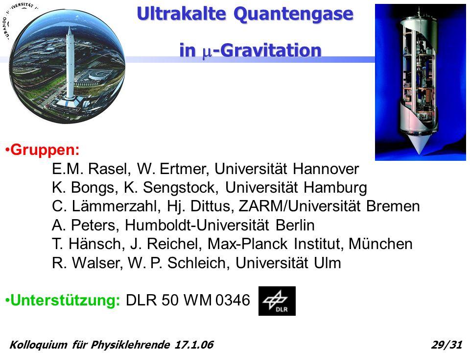 Kolloquium für Physiklehrende 17.1.06 29/31 Gruppen: E.M. Rasel, W. Ertmer, Universität Hannover K. Bongs, K. Sengstock, Universität Hamburg C. Lämmer