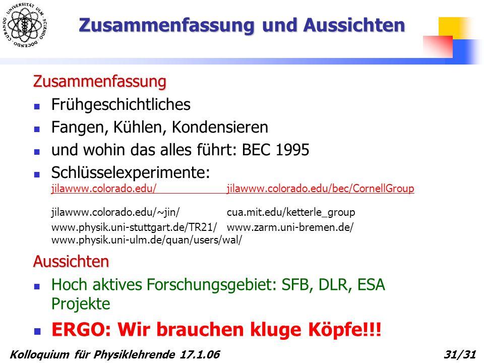 Kolloquium für Physiklehrende 17.1.06 31/31 Zusammenfassung und Aussichten Zusammenfassung Frühgeschichtliches Fangen, Kühlen, Kondensieren und wohin