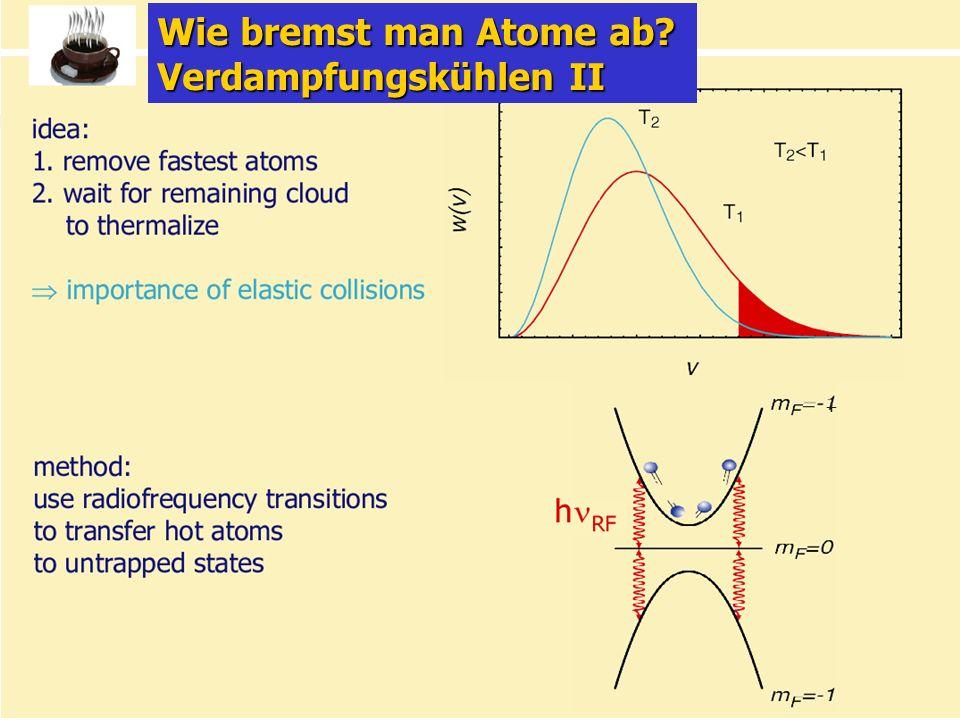Kolloquium für Physiklehrende 17.1.06 9/31 + Wie bremst man Atome ab? Verdampfungskühlen II