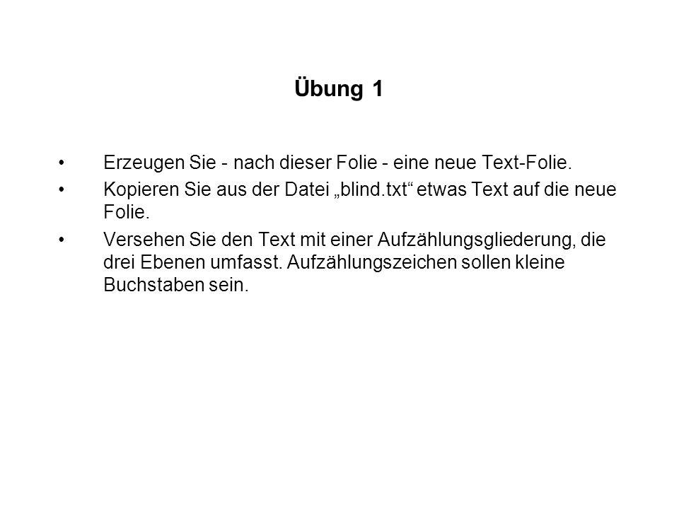 Übung 1 Erzeugen Sie - nach dieser Folie - eine neue Text-Folie. Kopieren Sie aus der Datei blind.txt etwas Text auf die neue Folie. Versehen Sie den