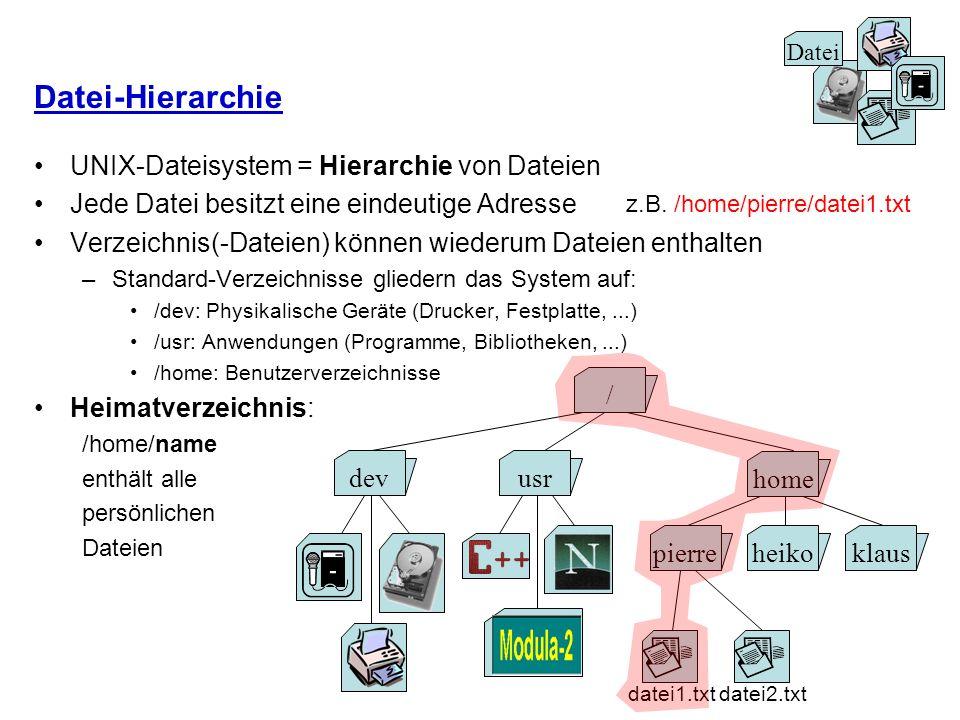Datei-Hierarchie UNIX-Dateisystem = Hierarchie von Dateien Jede Datei besitzt eine eindeutige Adresse Verzeichnis(-Dateien) können wiederum Dateien en