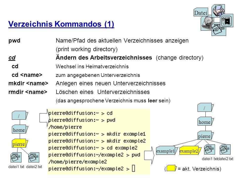 Verzeichnis Kommandos (1) pwd Name/Pfad des aktuellen Verzeichnisses anzeigen (print working directory) cd Ändern des Arbeitsverzeichnisses (change di