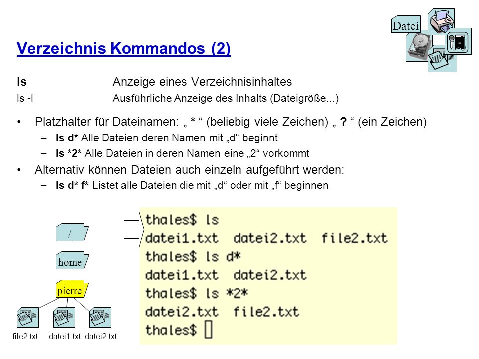 Verzeichnis Kommandos (2) ls Anzeige eines Verzeichnisinhaltes ls -lAusführliche Anzeige des Inhalts (Dateigröße...) Platzhalter für Dateinamen: * (be