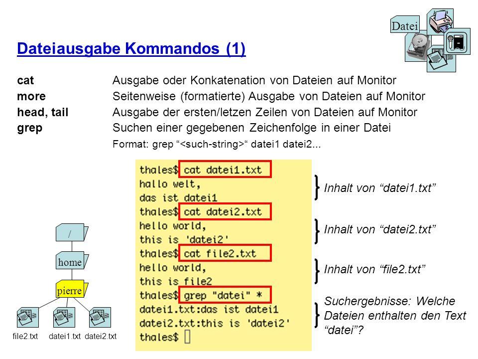 Dateiausgabe Kommandos (1) cat Ausgabe oder Konkatenation von Dateien auf Monitor more Seitenweise (formatierte) Ausgabe von Dateien auf Monitor head,