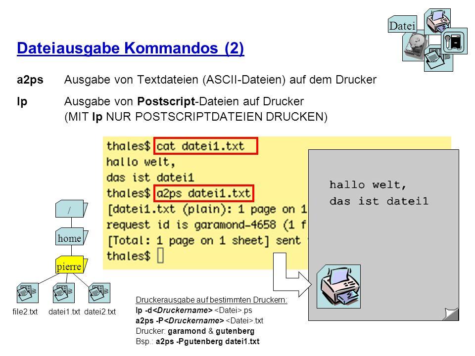 Dateiausgabe Kommandos (2) a2psAusgabe von Textdateien (ASCII-Dateien) auf dem Drucker lp Ausgabe von Postscript-Dateien auf Drucker (MIT lp NUR POSTS