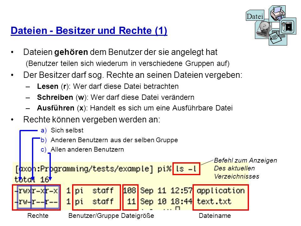 Dateien - Besitzer und Rechte (1) Dateien gehören dem Benutzer der sie angelegt hat (Benutzer teilen sich wiederum in verschiedene Gruppen auf) Der Be